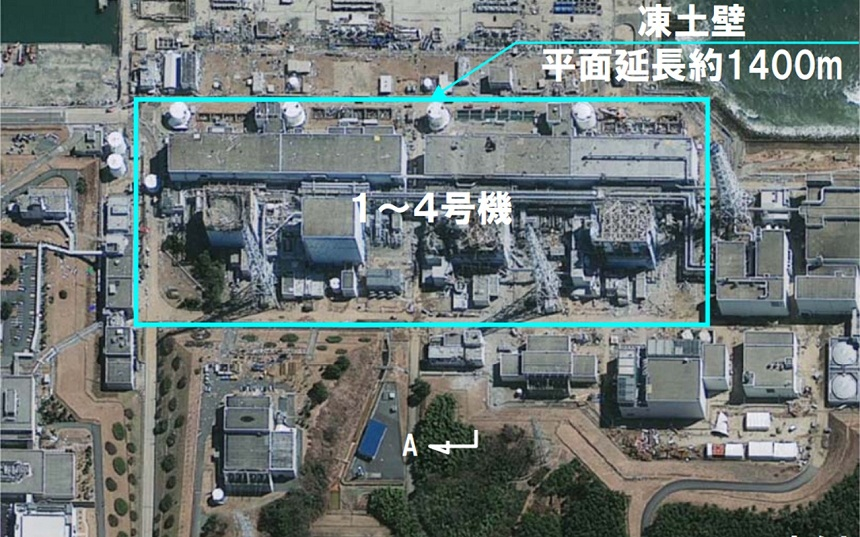 Plan of vertical cooling device arrangement around the perimeter of the Fukushima nuclear power plant